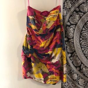Colorful mini strapless Tibi dress
